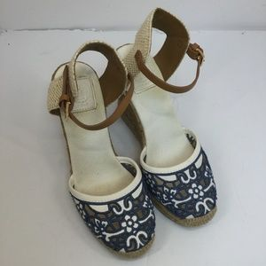 Tory Burch Lucia Lace Wedge Espadrilles - size 7